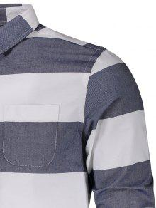Bolsillo De De Rayas Camisa Blanco Xl Y 250;nico Pecho De Azul Rwq14xHCt