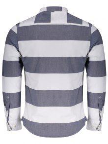 Camisa De Bolsillo De Rayas Pecho De qq7BrZw6