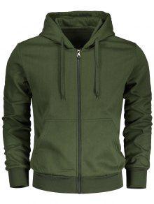 Drawstring Kangaroo Pockets Zip Up Hoodie - Army Green L