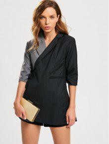 Stripes Two Tone Wrap Blazer - Black And Grey L