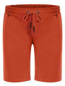 Side Pocket Drawstring Men Bermuda Shorts - Orange M