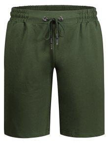Side Pocket Drawstring Men Bermuda Shorts - Army Green M
