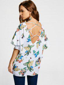 Floral Flounces Criss Cross Blouse - White M