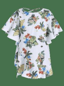 S Blanco Flounces Blusa Criss Cruz Floral WxFaZ1A7x8