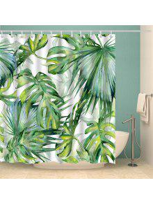 Watercolor Fern Plants Shower Curtain With Hooks