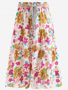 Belted Printed A Line Maxi Skirt - Pink