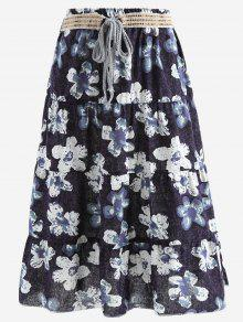 Belted Printed A Line Maxi Skirt - Black