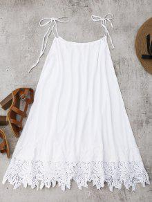 Trim Sundress Trapeze Blanco Lace L xn8Ya87O