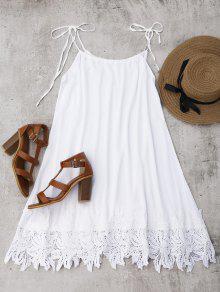 فستان الشمس دانتيل التريم - أبيض S