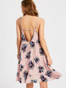 Ruffles Cut Out Swing Slip Dress - Nude Pink L