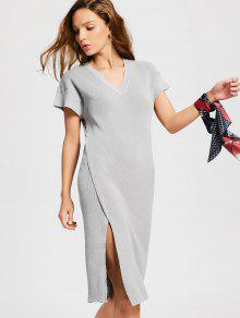Knitted Slit Midi Sheath Dress - Gray