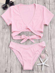 Knot Front High Cut Bathing Suit - Pink M