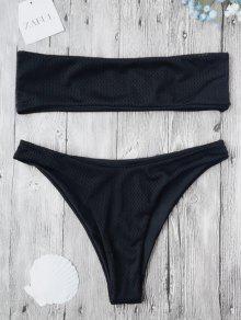 Eyelet Bandeau Bikini Set - Black S