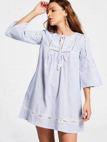 Flare Sleeve Sheer Stripes Mini Dress - Stripe M