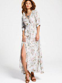 فستان ماكسي زر انقسام طباعة الأزهار - أبيض S