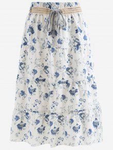 Belted Printed A Line Maxi Skirt - Blue And White