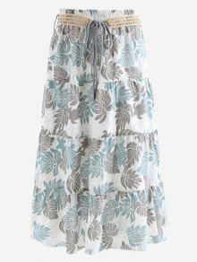 Belted Printed A Line Maxi Skirt - Gray And Blue