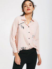 Button Down Embroidered Checked Shirt - Checked S