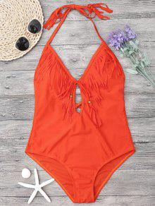 Halter Cutout Fringe One Piece Swimsuit - Bright Orange L