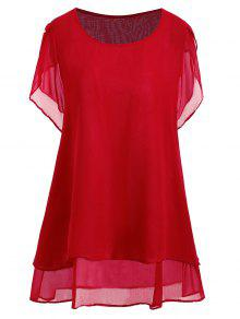 beaded chiffon plus size tunic top red