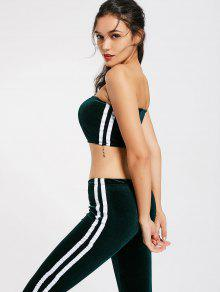 Striped Trim Velvet Tube Top And Flare Pants - Blackish Green M