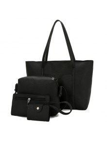 محكم جلد 4 قطع حقيبة الكتف مجموعة - أسود
