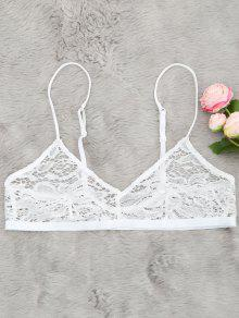 Sheer Lace Plunging Neck Bralette - White L