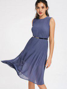 Pleated Panel Belted Chiffon Dress - Stone Blue S