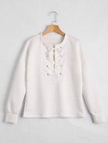 Drop Shoulder Lace Up Sweatshirt - White M