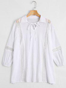 Hollow Out Self Tie Bowtie Blouse - White