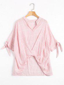 Gathered Checked High Low Blouse - Pink