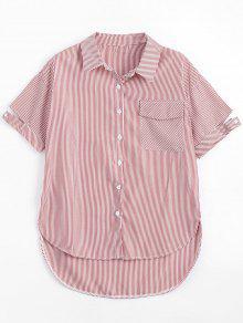 Pocket Button Up Striped Shirt - Red Xl