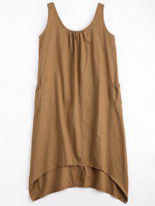 U Neck Sleeveless Asymmetric Dress - Camel M