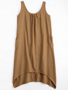 U Neck Sleeveless Asymmetric Dress - Camel L