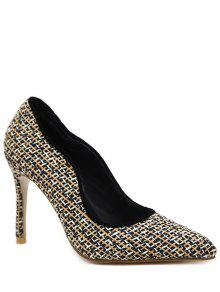 Sequins Gien Check Stiletto Heel Pumps - Black 38