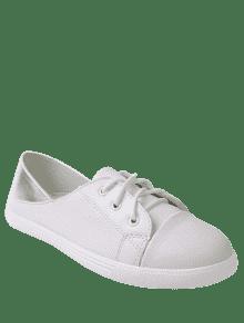 cheap low price fee shipping Faux Leather Two Tone Flat Shoes - White 39 buy cheap wiki dlJGJmhAK
