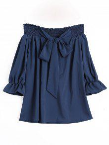 Off The Shoulder Self Tie Bowknot Blouse - Cadetblue Xl