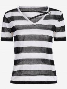 V Neck Striped Knitted Tee - Black