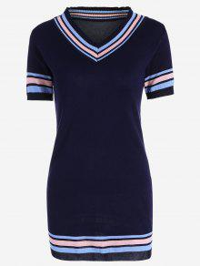 V Neck Striped Knitted Dress - Purplish Blue
