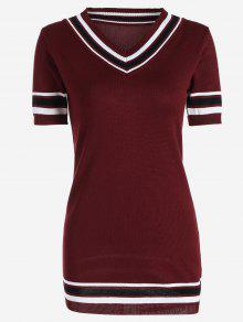V Neck Striped Knitted Dress - Wine Red