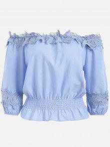 Lace Panel Off The Shoulder Blouse - Bleu Violet