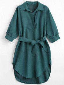 Three Quarter Sleeve Belted Shift Dress - Blackish Green S