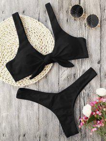 Padded Knotted Thong Bikini - Black M