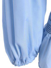 1afedc57653a1 27% OFF  2019 Back Zippered Puff Sleeve Blouse In LIGHT BLUE