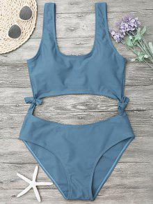 High Leg Cut Out Bowknot Swimwear - Blue Gray L