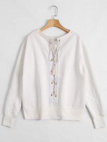 Back Lace Up Pullover Sweatshirt - White M