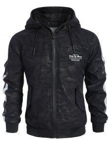 Side Letter Print Camo Hooded Jacket - Black 2xl