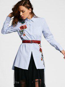 Stripes Slit Floral Embroidered Shirt - Stripe L