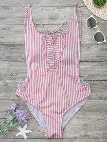 Striped Backless Lace Up Swimwear - Stripe M