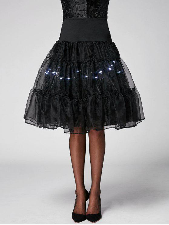 تنفيس تضيء تأثيري تنورة - أسود مشرق XL